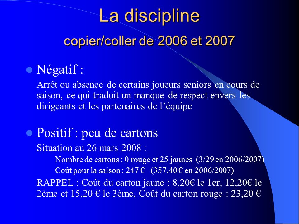 La discipline copier/coller de 2006 et 2007