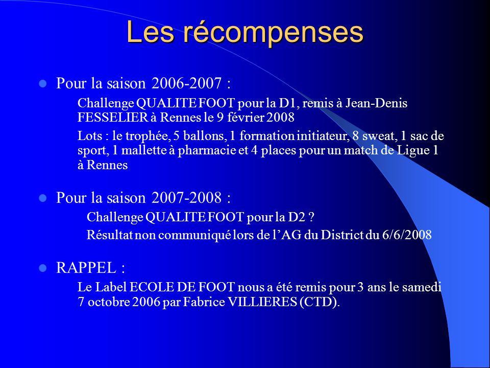 Les récompenses Pour la saison 2006-2007 : Pour la saison 2007-2008 :