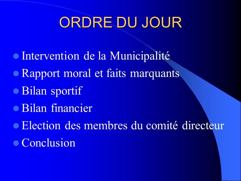 ORDRE DU JOUR Intervention de la Municipalité