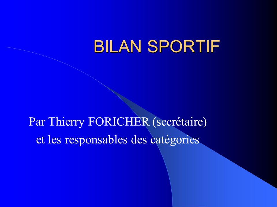 Par Thierry FORICHER (secrétaire) et les responsables des catégories