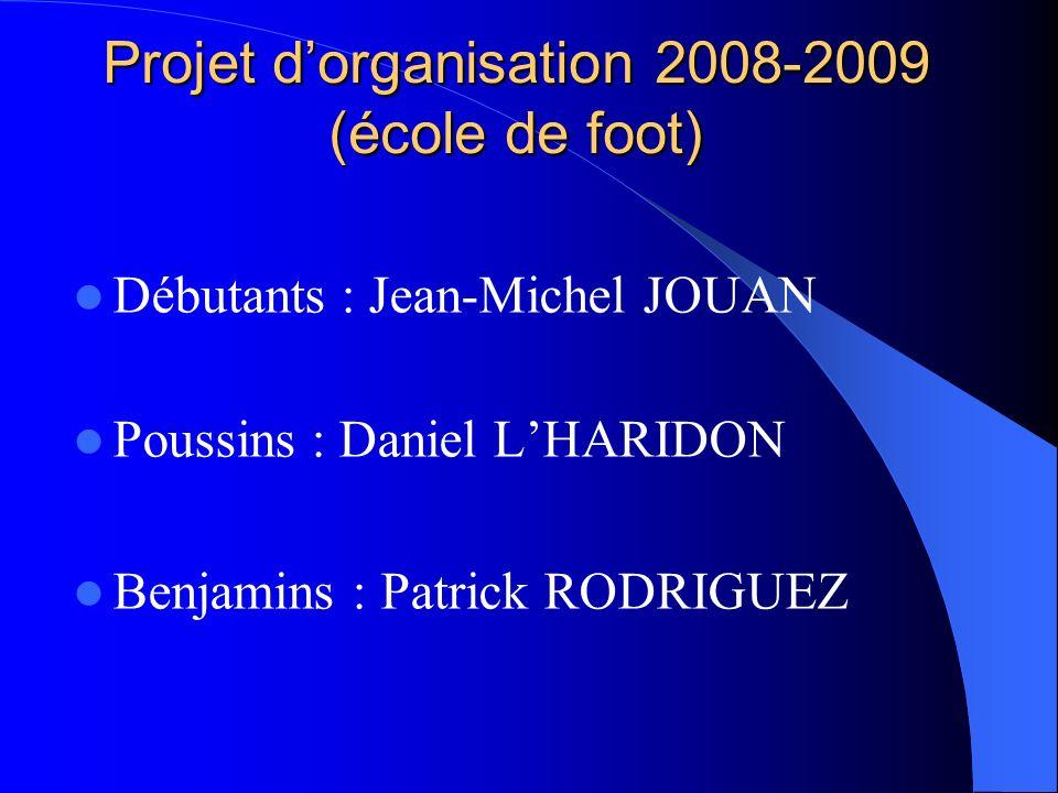 Projet d'organisation 2008-2009 (école de foot)