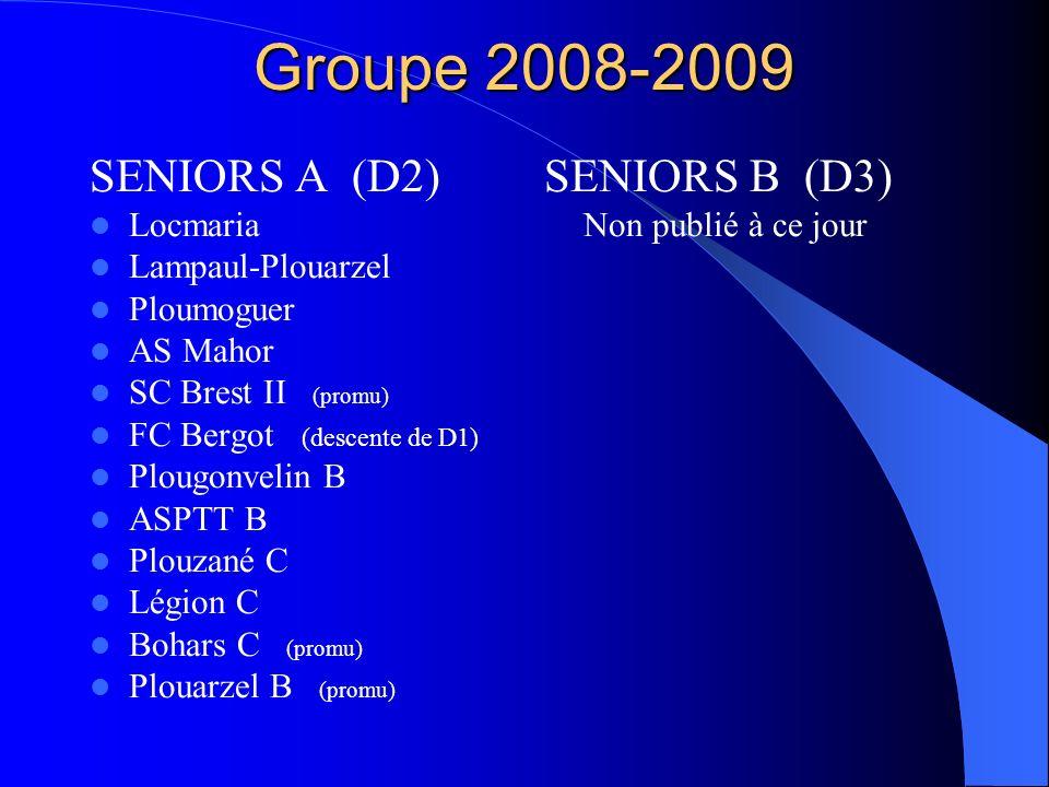 Groupe 2008-2009 SENIORS A (D2) SENIORS B (D3) Locmaria