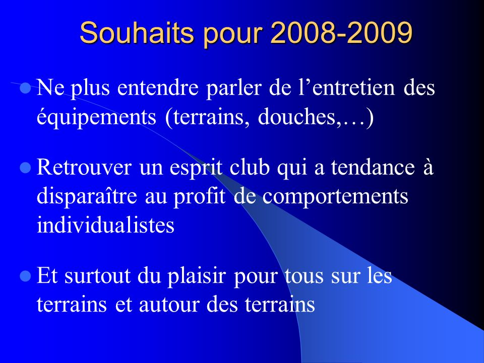 Souhaits pour 2008-2009 Ne plus entendre parler de l'entretien des équipements (terrains, douches,…)