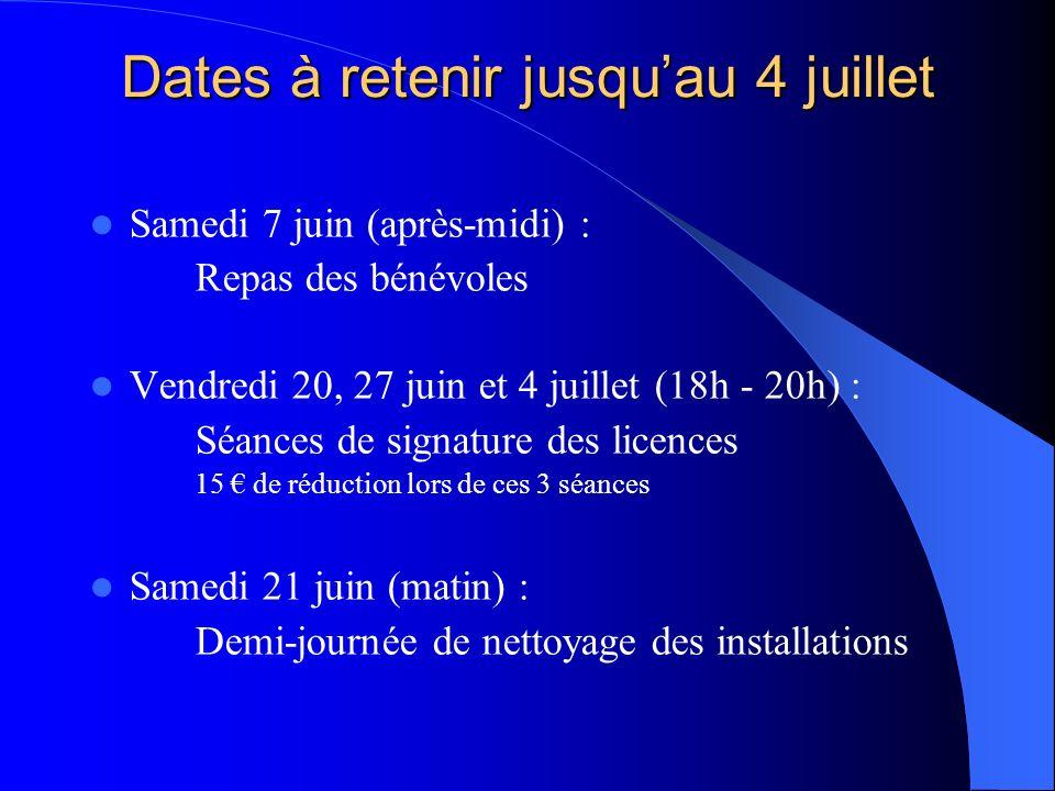 Dates à retenir jusqu'au 4 juillet