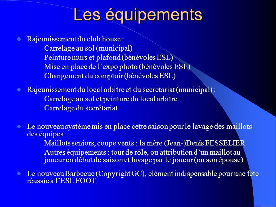 Les équipements Rajeunissement du club house :