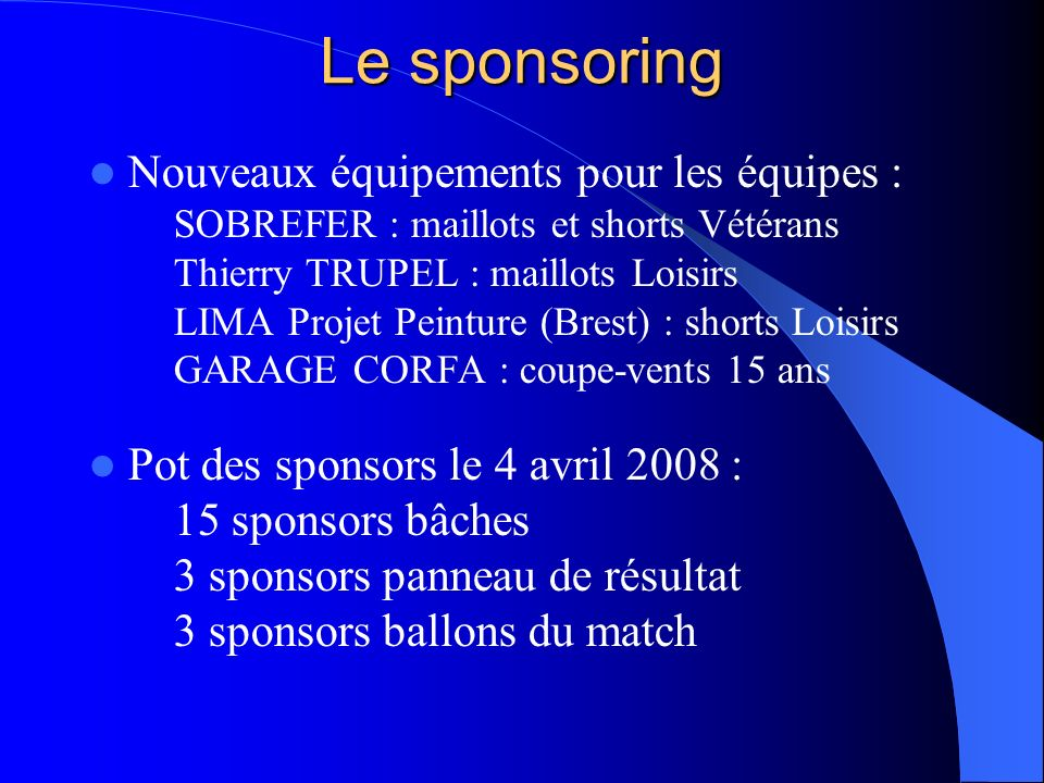Le sponsoring Nouveaux équipements pour les équipes :