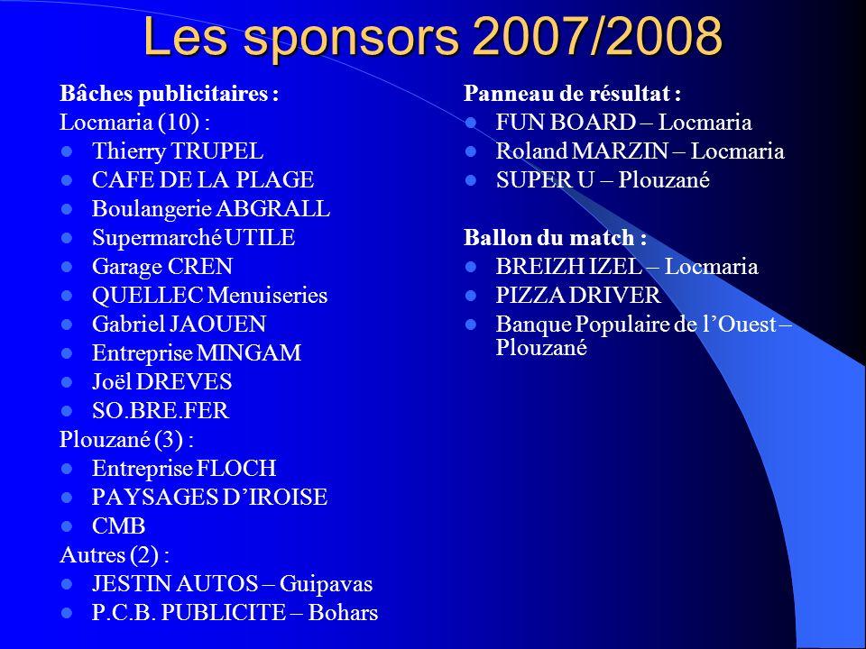 Les sponsors 2007/2008 Bâches publicitaires : Locmaria (10) :