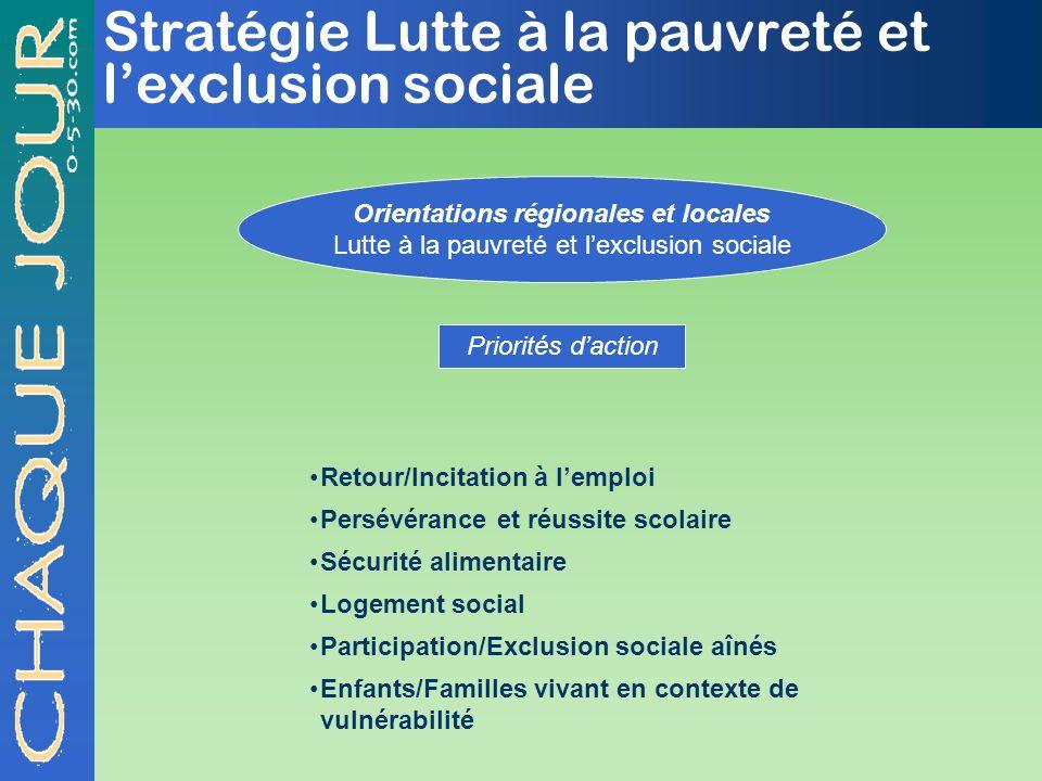 Stratégie Lutte à la pauvreté et l'exclusion sociale
