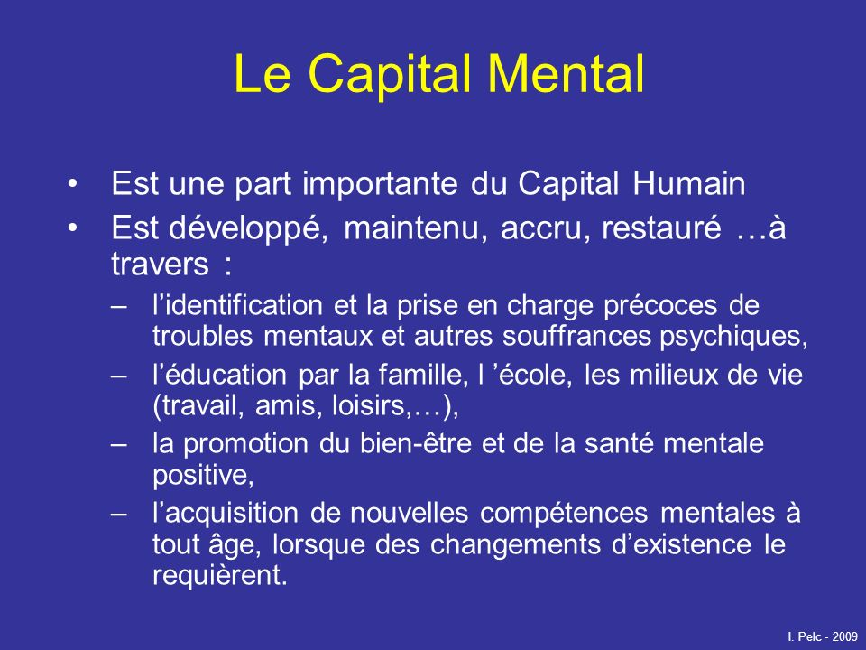 Le Capital Mental Est une part importante du Capital Humain
