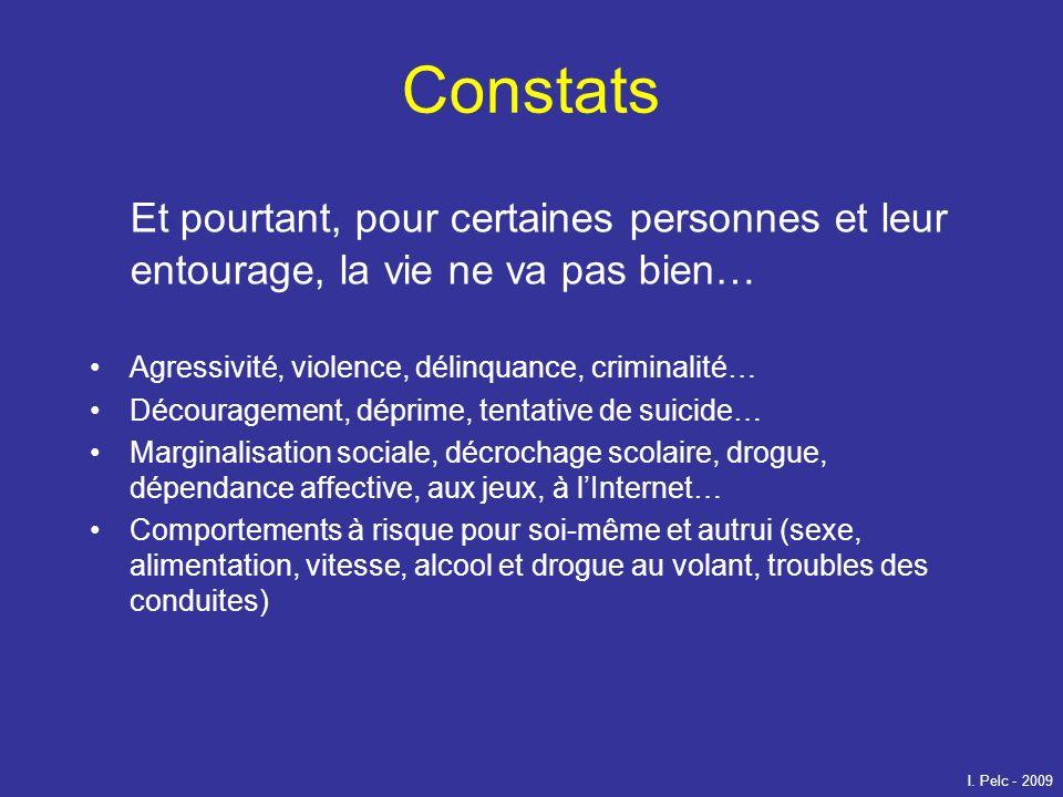 Constats Et pourtant, pour certaines personnes et leur entourage, la vie ne va pas bien… Agressivité, violence, délinquance, criminalité…