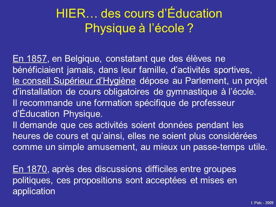 HIER… des cours d'Éducation Physique à l'école