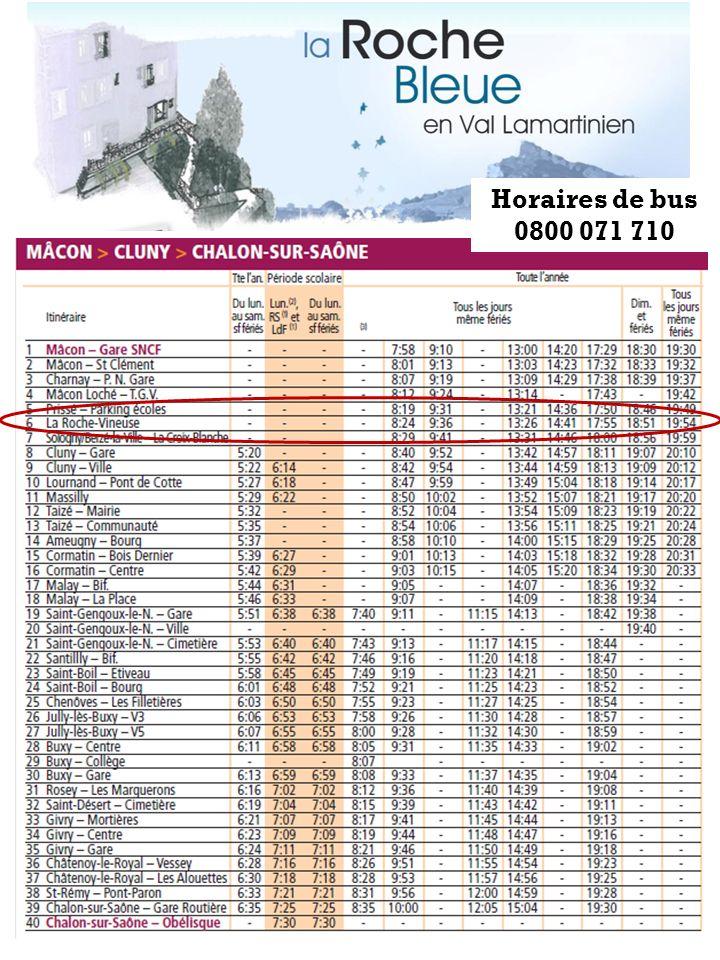 Horaires de bus 0800 071 710
