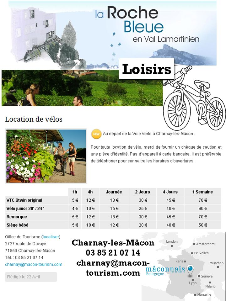 Loisirs Charnay-les-Mâcon 03 85 21 07 14 charnay@macon-tourism.com
