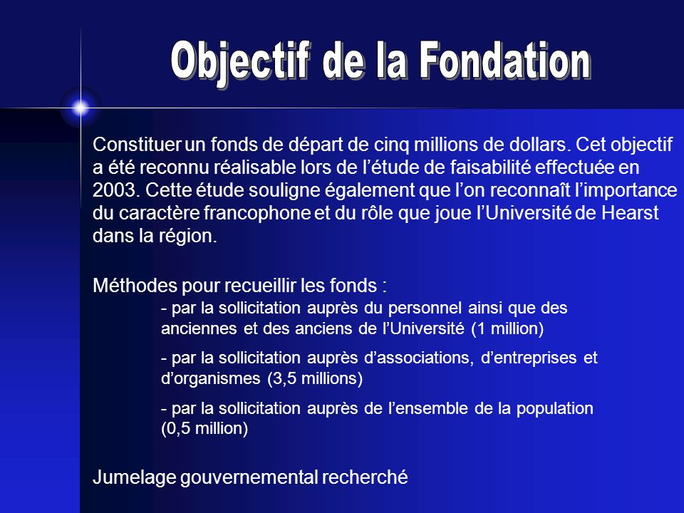 Objectif de la Fondation