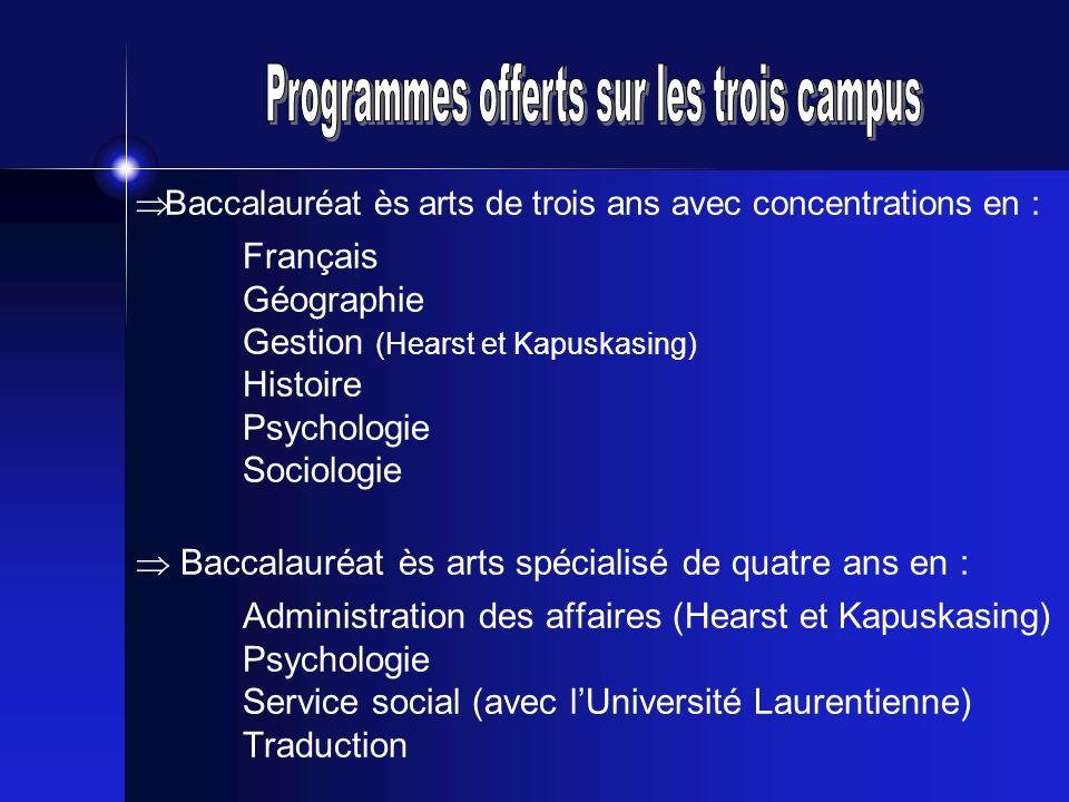 Programmes offerts sur les trois campus