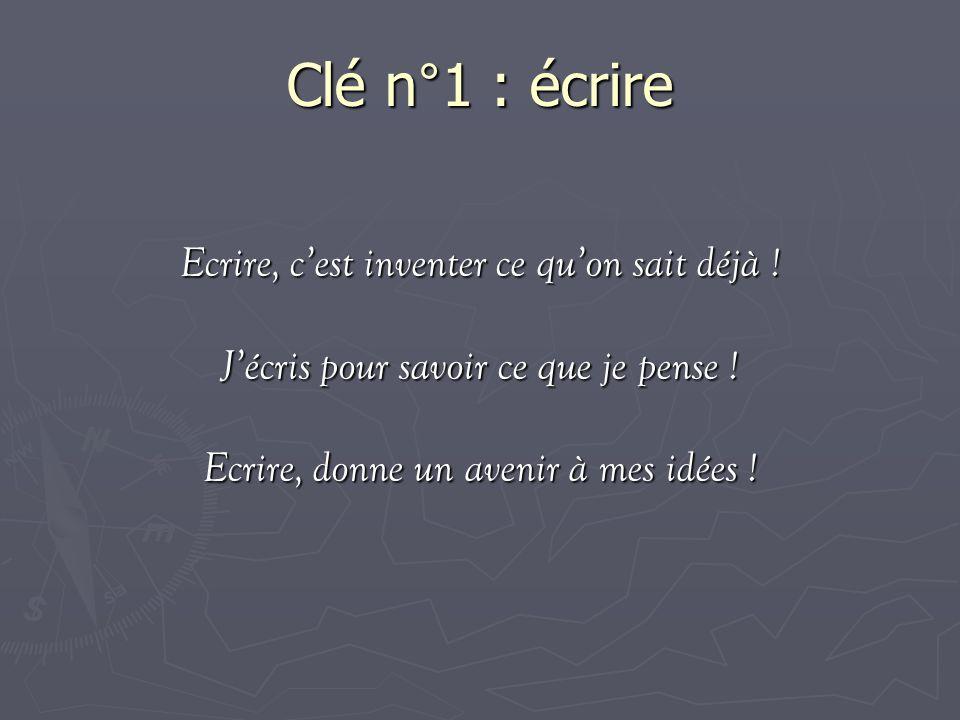 Clé n°1 : écrire Ecrire, c'est inventer ce qu'on sait déjà !