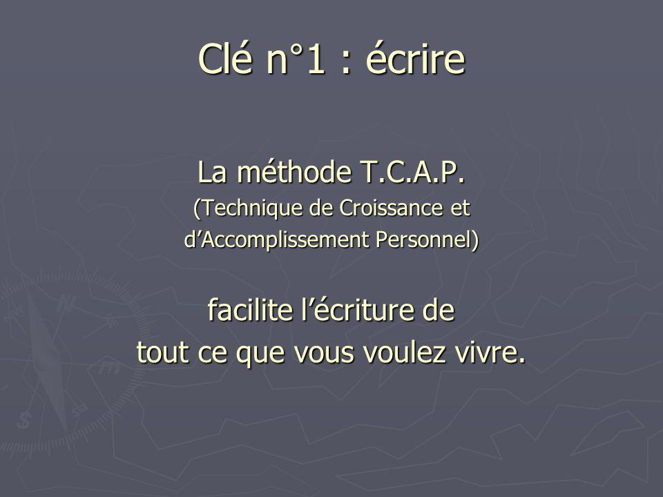 Clé n°1 : écrire La méthode T.C.A.P. facilite l'écriture de