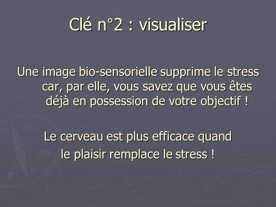 Clé n°2 : visualiser Une image bio-sensorielle supprime le stress car, par elle, vous savez que vous êtes déjà en possession de votre objectif !