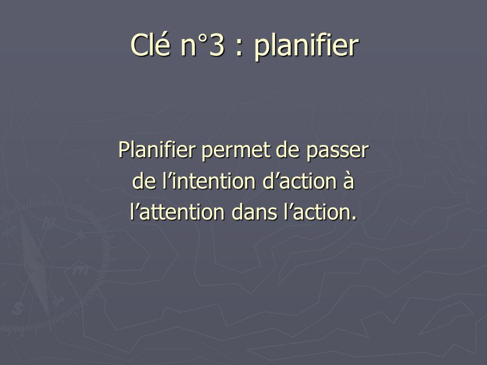 Clé n°3 : planifier Planifier permet de passer
