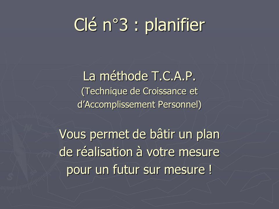 Clé n°3 : planifier La méthode T.C.A.P. Vous permet de bâtir un plan