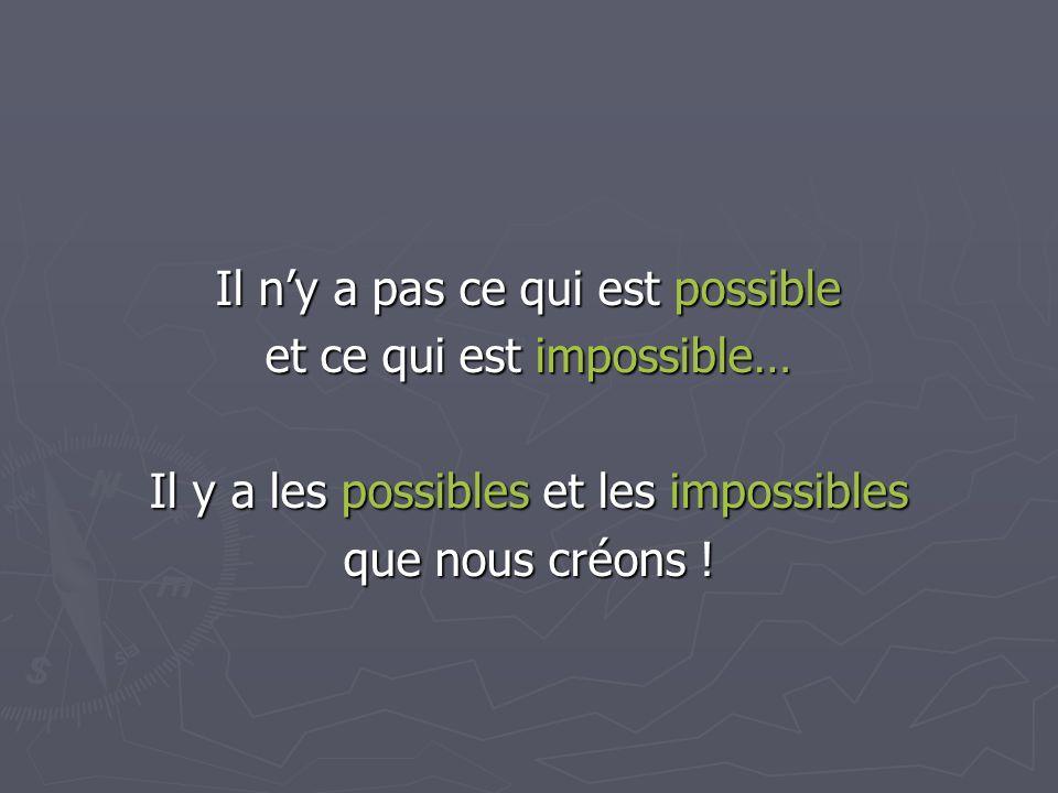 Il n'y a pas ce qui est possible et ce qui est impossible…