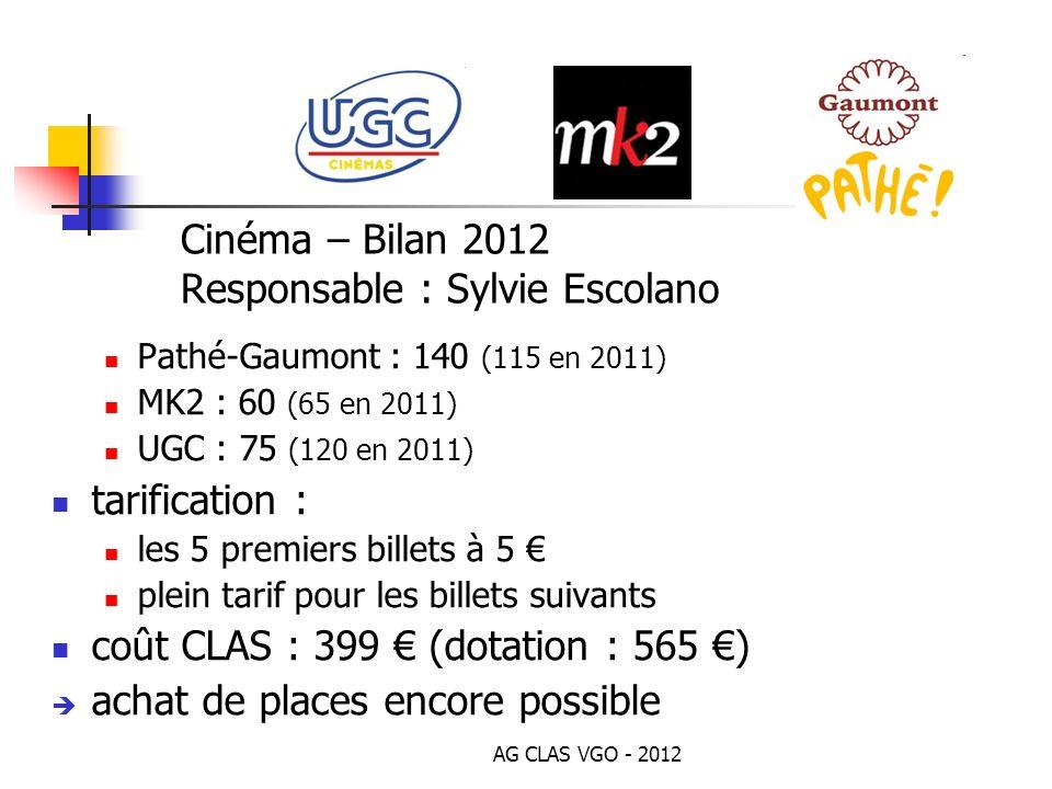 Cinéma – Bilan 2012 Responsable : Sylvie Escolano