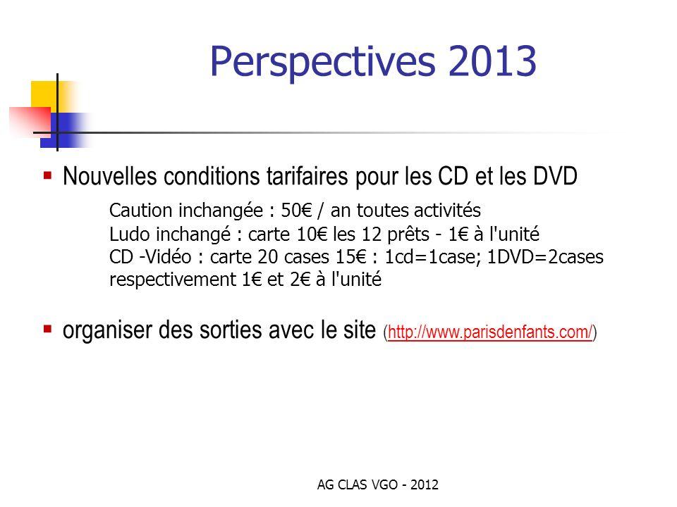 Perspectives 2013 Nouvelles conditions tarifaires pour les CD et les DVD. Caution inchangée : 50€ / an toutes activités.