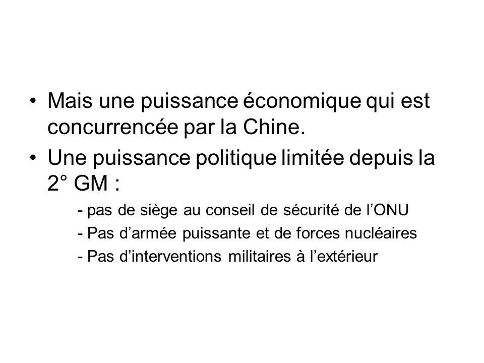 Mais une puissance économique qui est concurrencée par la Chine.