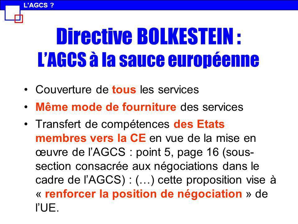 Directive BOLKESTEIN : L'AGCS à la sauce européenne