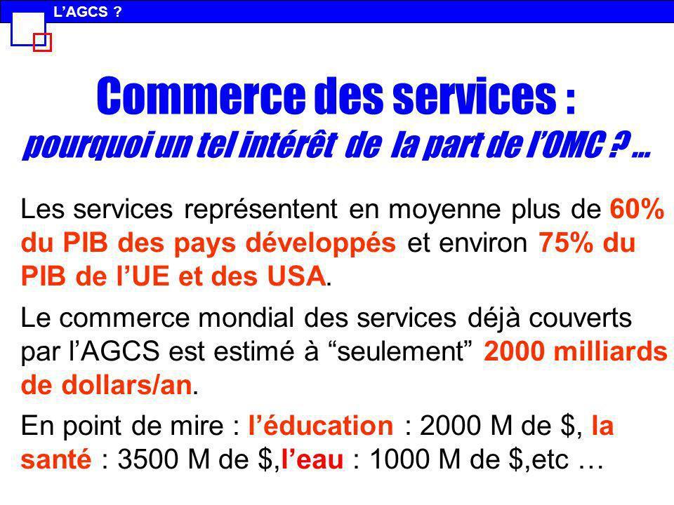 L'AGCS Commerce des services : pourquoi un tel intérêt de la part de l'OMC …