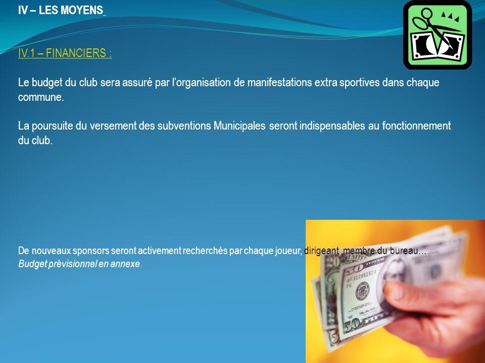 IV – LES MOYENS IV.1 – FINANCIERS :