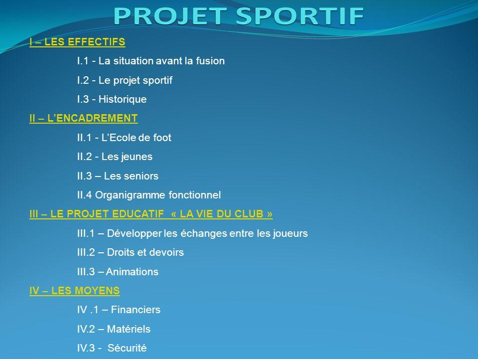 I – LES EFFECTIFS I.1 - La situation avant la fusion. I.2 - Le projet sportif. I.3 - Historique. II – L'ENCADREMENT.