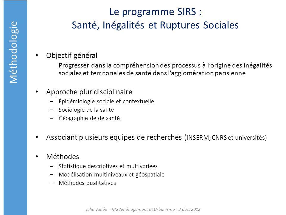 Le programme SIRS : Santé, Inégalités et Ruptures Sociales