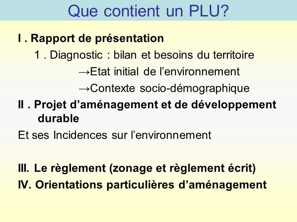 Que contient un PLU I . Rapport de présentation
