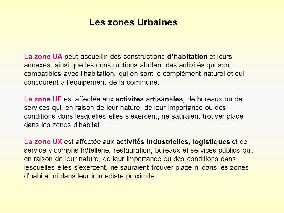 Les zones Urbaines