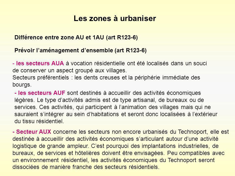 Les zones à urbaniser Différence entre zone AU et 1AU (art R123-6)