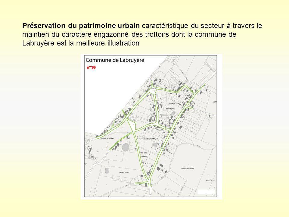 Préservation du patrimoine urbain caractéristique du secteur à travers le maintien du caractère engazonné des trottoirs dont la commune de Labruyère est la meilleure illustration