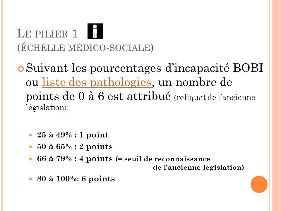 Le pilier 1 (échelle médico-sociale)
