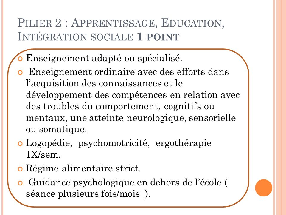 Pilier 2 : Apprentissage, Education, Intégration sociale 1 point