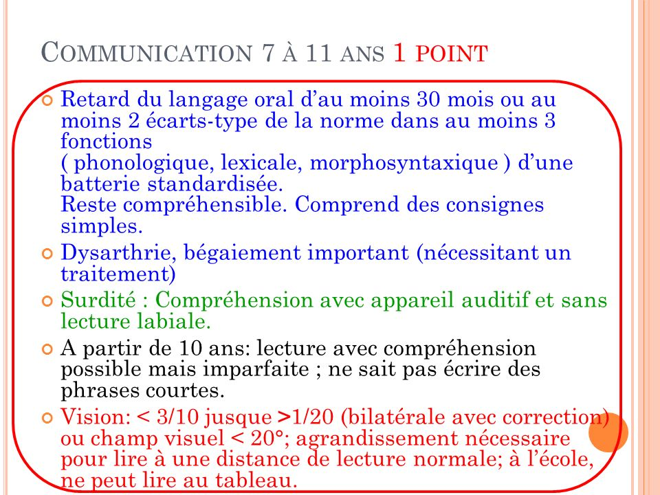 Communication 7 à 11 ans 1 point