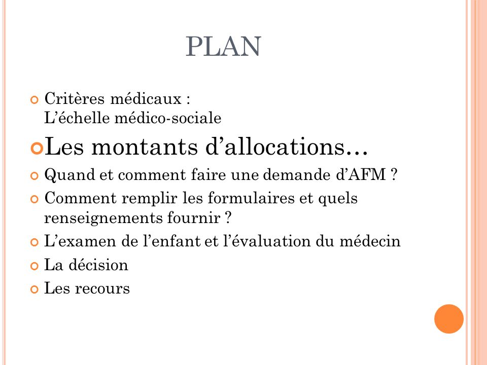 PLAN Les montants d'allocations…
