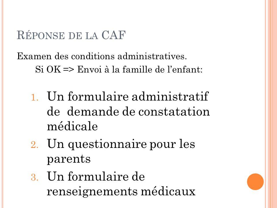 Un formulaire administratif de demande de constatation médicale