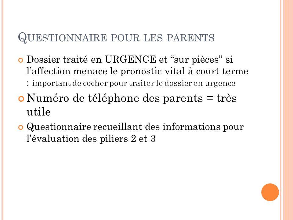 Questionnaire pour les parents