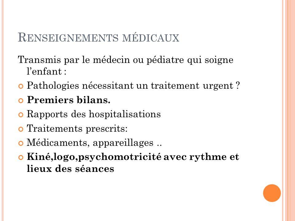 Renseignements médicaux