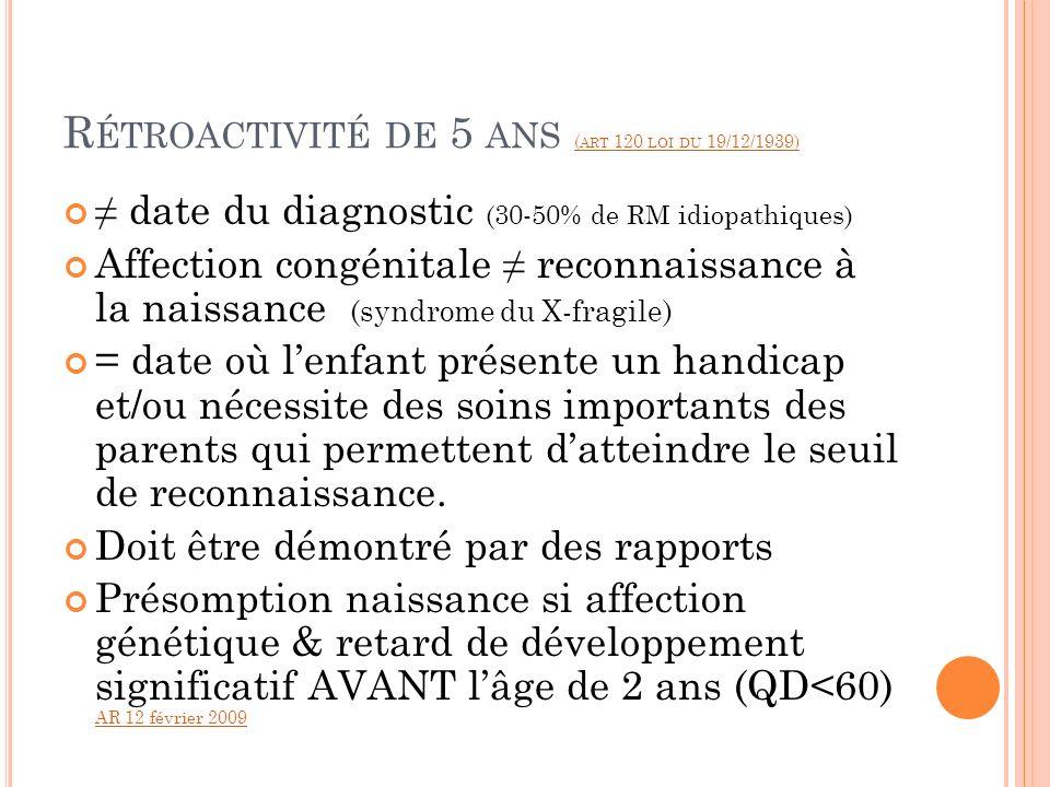 Rétroactivité de 5 ans (art 120 loi du 19/12/1939)