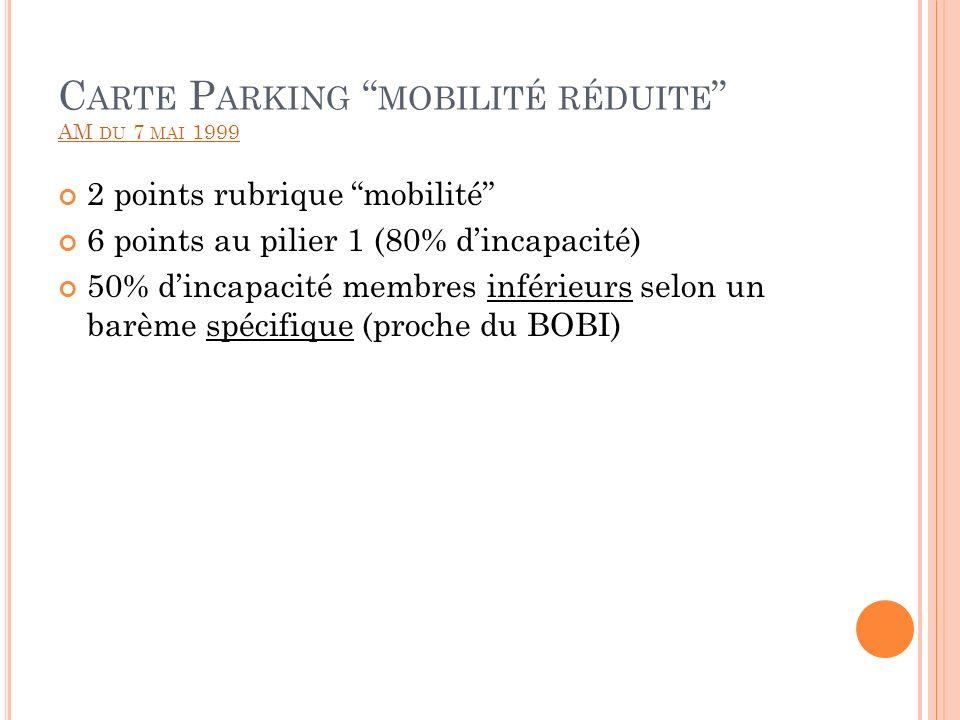 Carte Parking mobilité réduite AM du 7 mai 1999