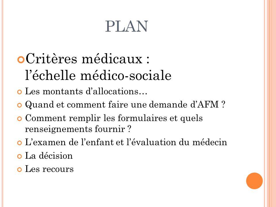PLAN Critères médicaux : l'échelle médico-sociale