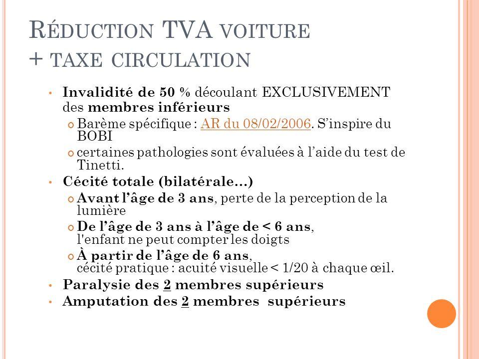 Réduction TVA voiture + taxe circulation