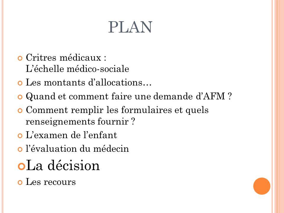 PLAN La décision Critres médicaux : L'échelle médico-sociale