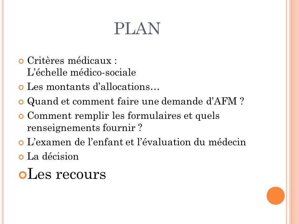 PLAN Les recours Critères médicaux : L'échelle médico-sociale